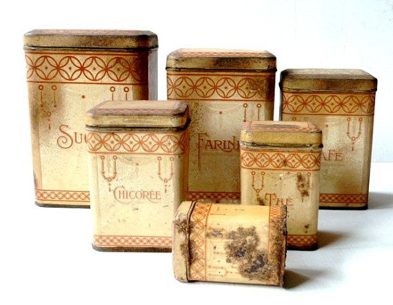 Antique distressed french kitchen canisters set 1910s ...