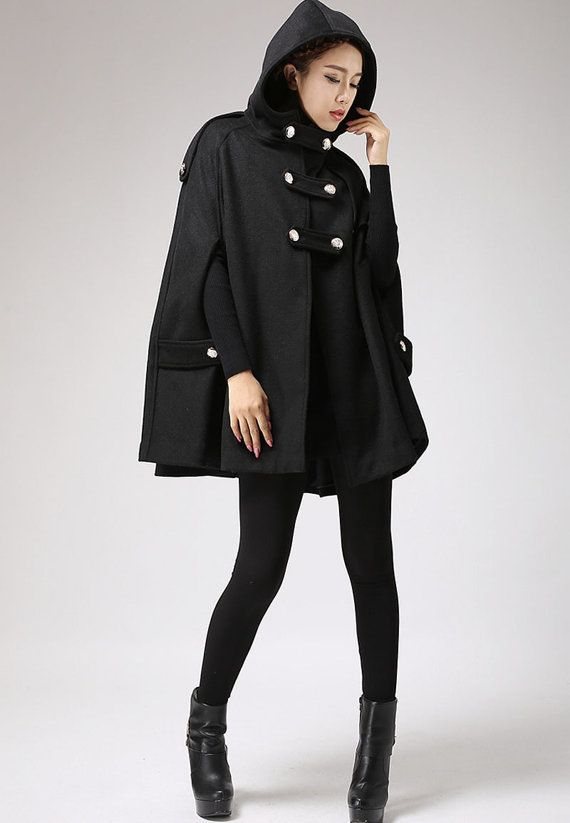 Black wool cape winter hooded mantle Military Double Breasted coat ...