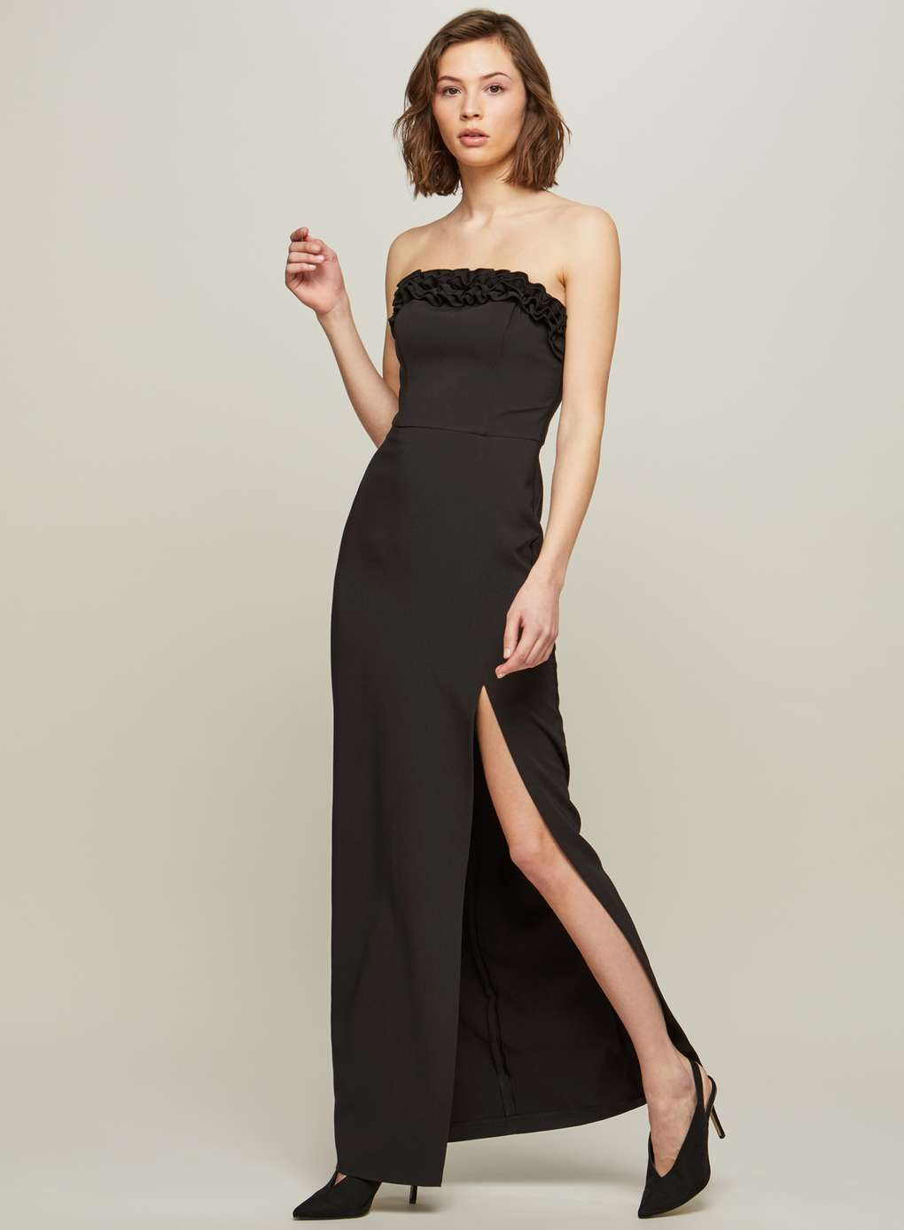 Bandeau Ruffle Maxi Dress Miss Selfridge Us Strapless Dress Formal Maxi Dress Ruffled Maxi Dress [ 1387 x 1020 Pixel ]