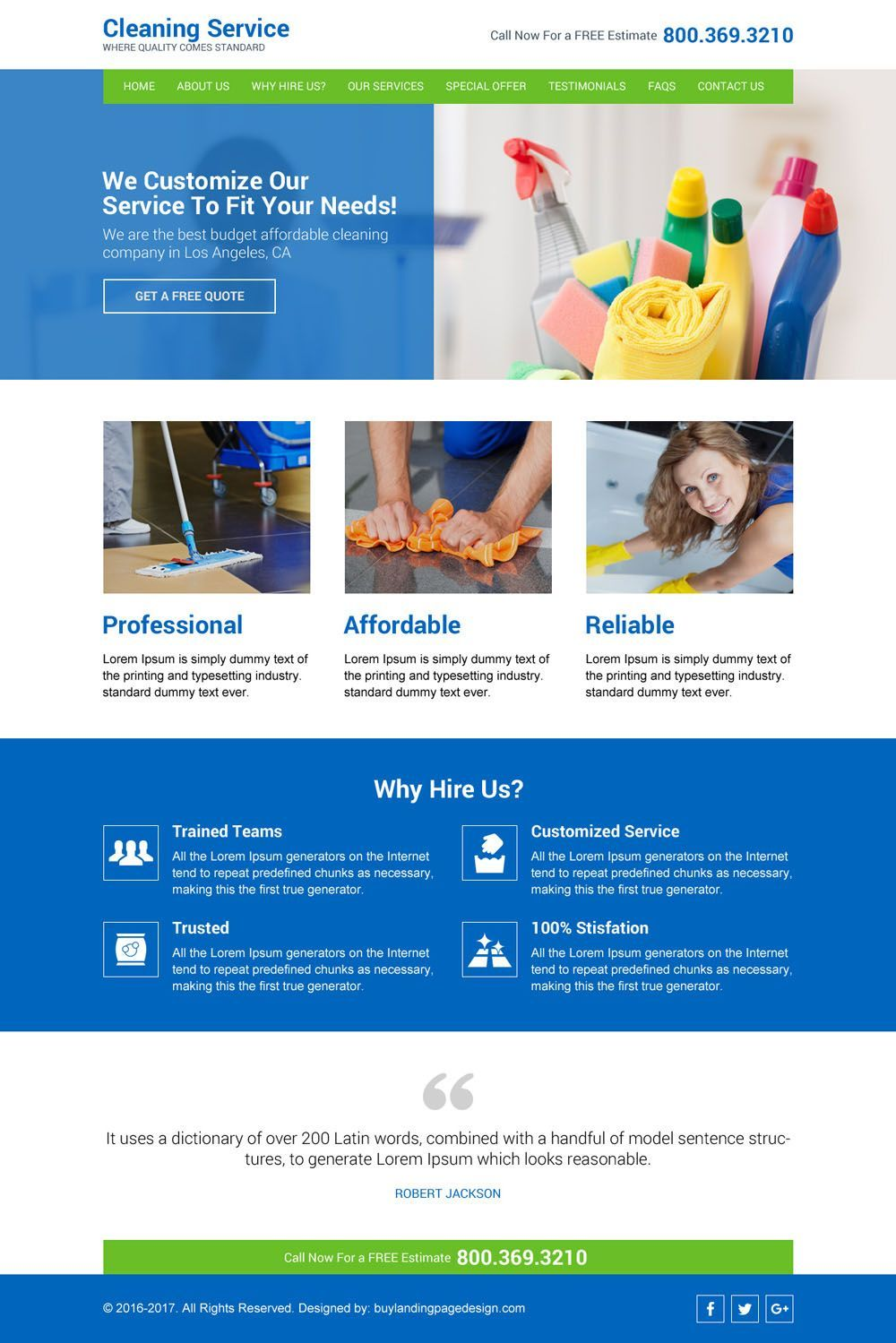 cleaning service company website design template (With