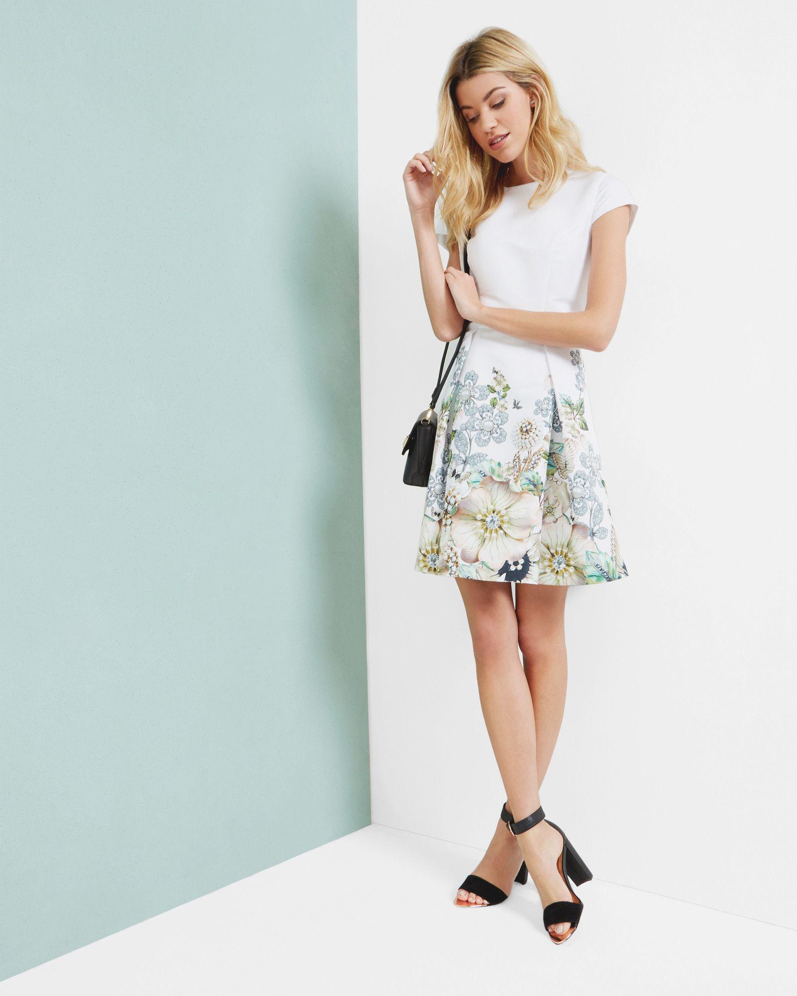 Gem Gardens pleated dress - Ivory | Dresses | Ted Baker