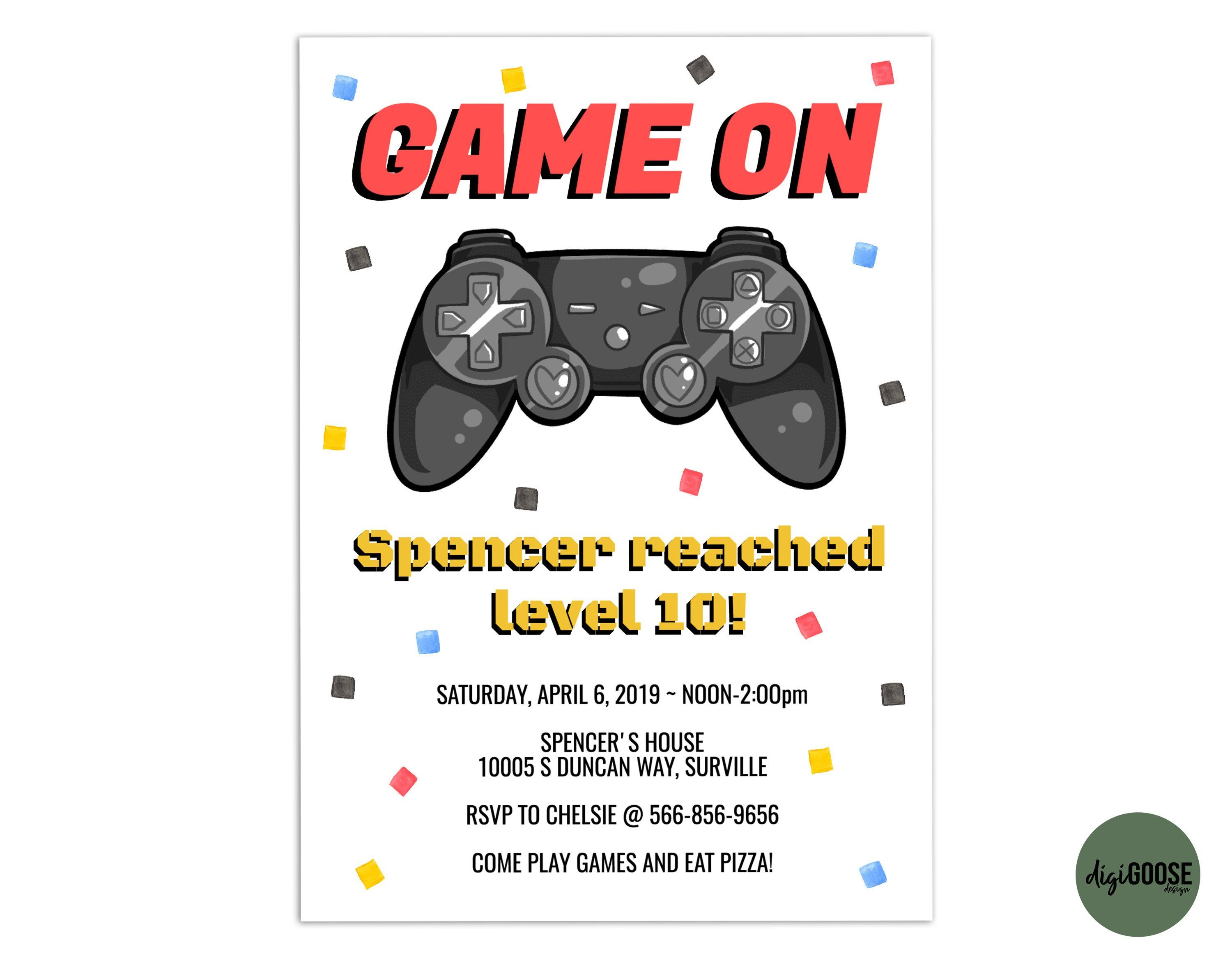 EDITABLE Video Game Invitation TEMPLATE Printable Video Game