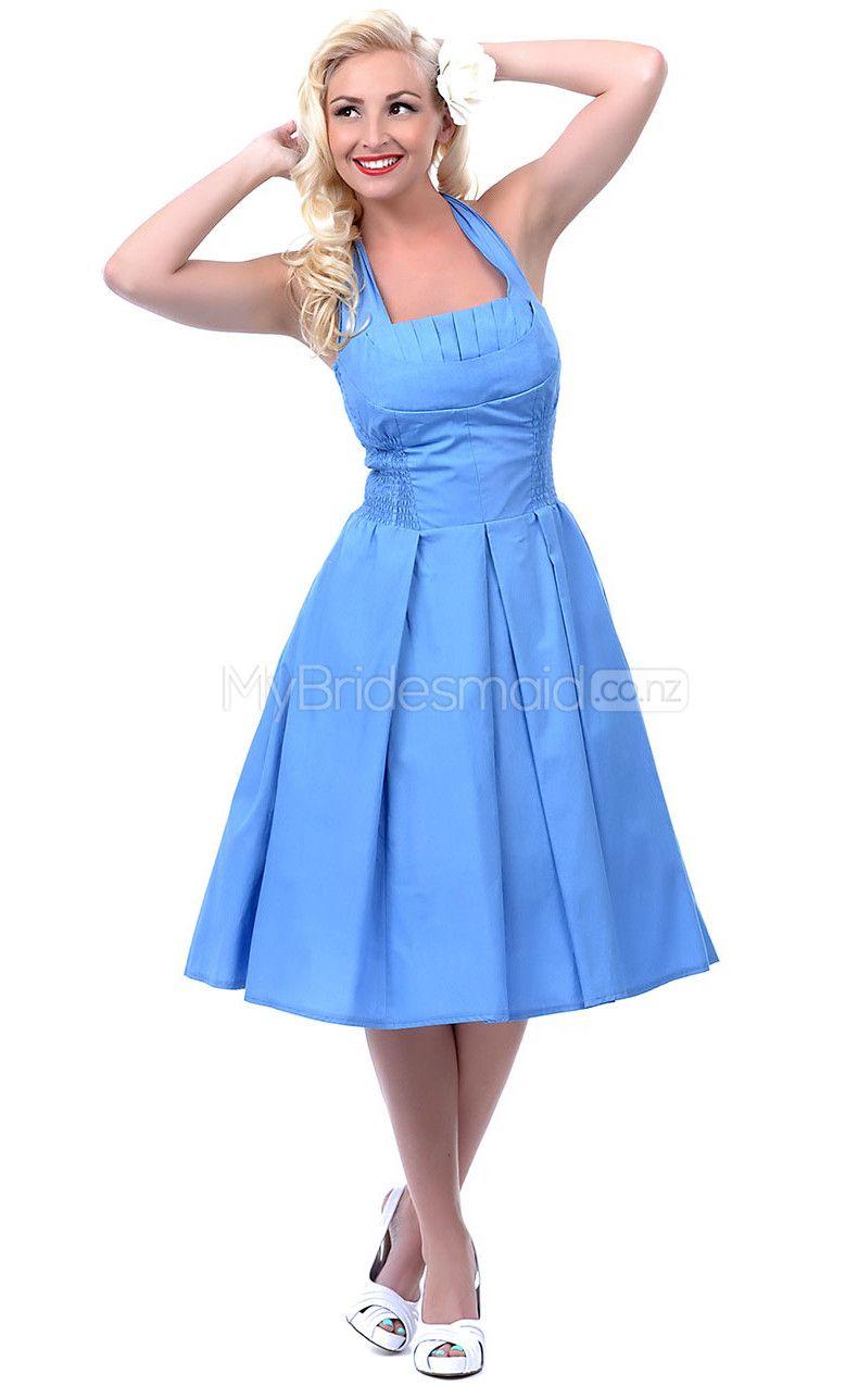 Formal dresses for summer wedding  Sky Blue Taffeta Knee Length Vintage Bridesmaid DressesNZBD