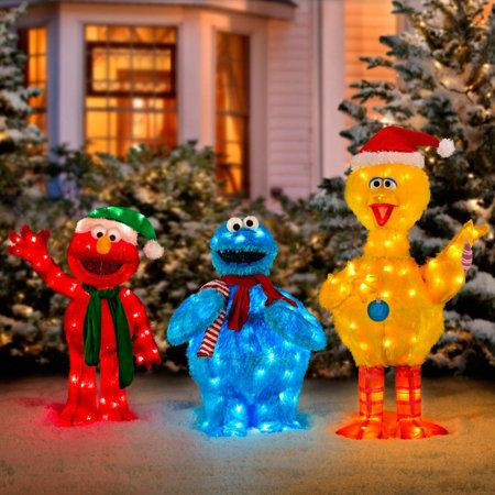 pre lit sesame street characters - Sesame Street Outdoor Christmas Decorations