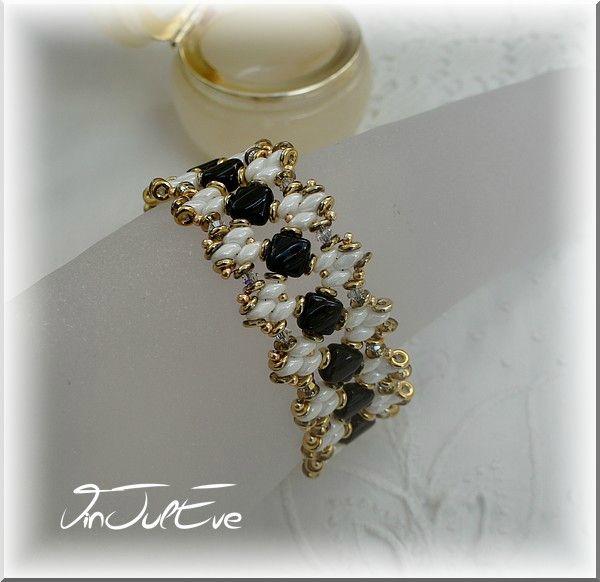 bracelet Hoani noir blanc or