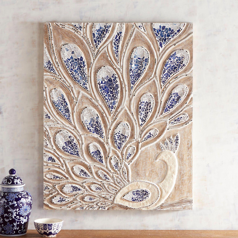 Mosaic Peacock Wall Panel
