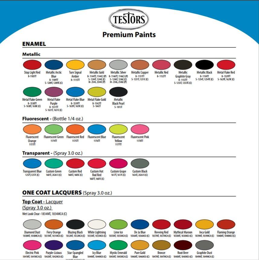 Testors Paint Color Chart Rocketcars Pinterest Paint Colour