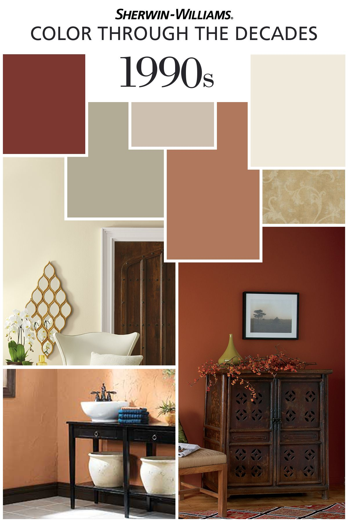 Color Through The Decades 1990s Sherwin Williams Interior Paint Schemes Interior Paint Colors Earth Tones Kitchen #sherwin #williams #paint #colors #living #room