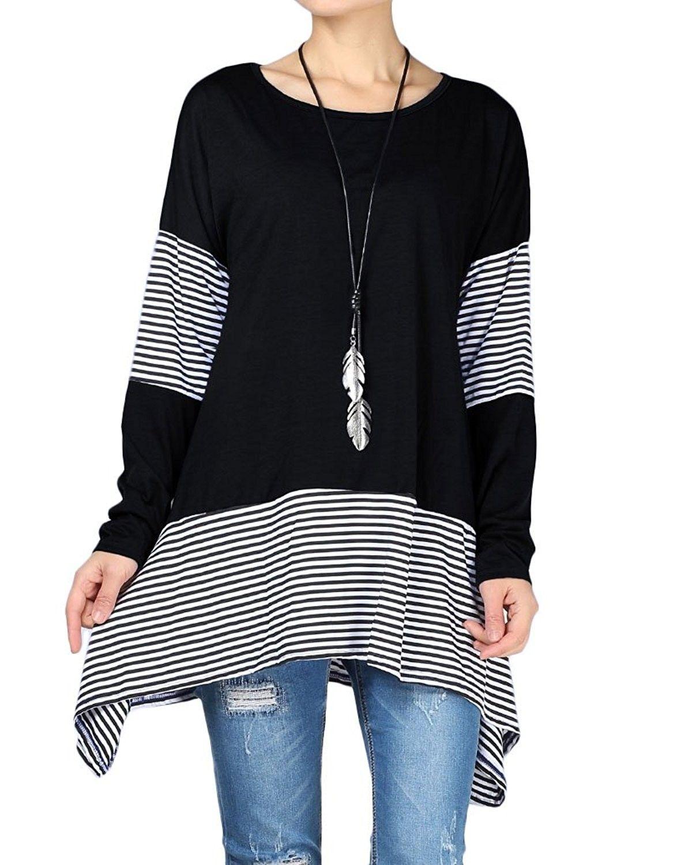 Women's Stripes Asymmetry Hem Tunics Blouse with Pockets - Black -  CM1882NAZ4M   Womens stripes, Clothes, Tunic tops