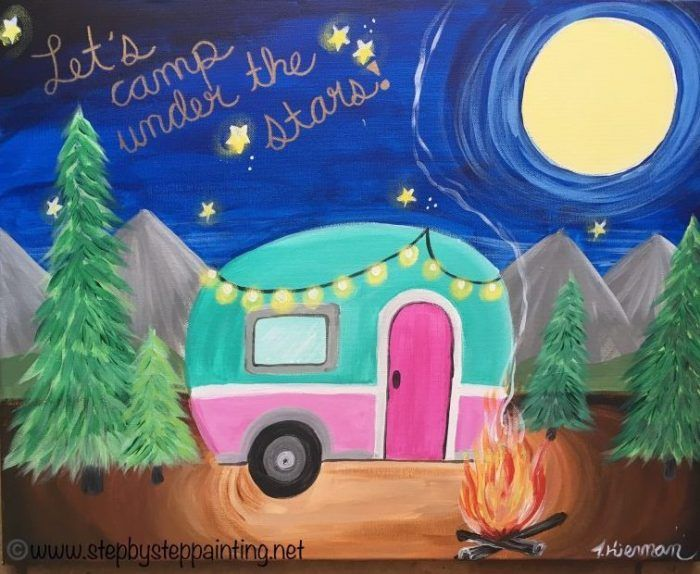 Vintage Camper Canvas Painting  Online Tutorial is part of Acrylic painting inspiration, Canvas painting tutorials, Summer painting, Acrylic painting tutorials, Acrylic painting canvas, Easy canvas painting - Learn how to paint a vintage camper on a 16  x 20  canvas with acrylic paints  This is a cute camping painting with campfire! For the absolute beginner!