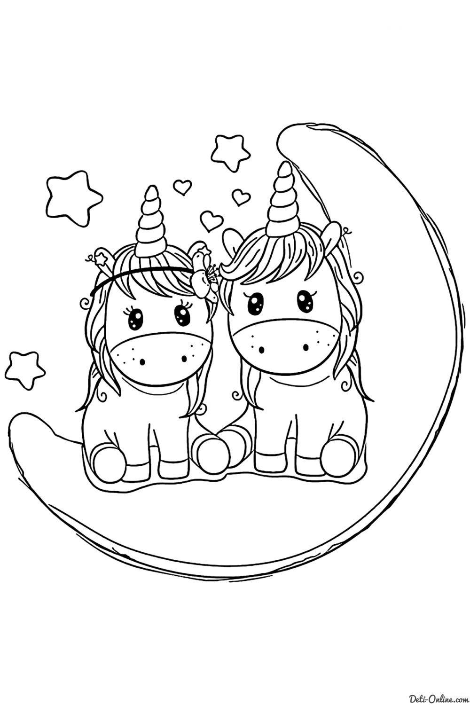 Раскраска Две единорожки на Луне | Раскраски Единороги ...