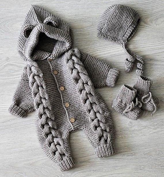 Photo of Baby-Strickspielanzug Strickspielanzug Strickoverall Baby-Strickspielanzug …  …