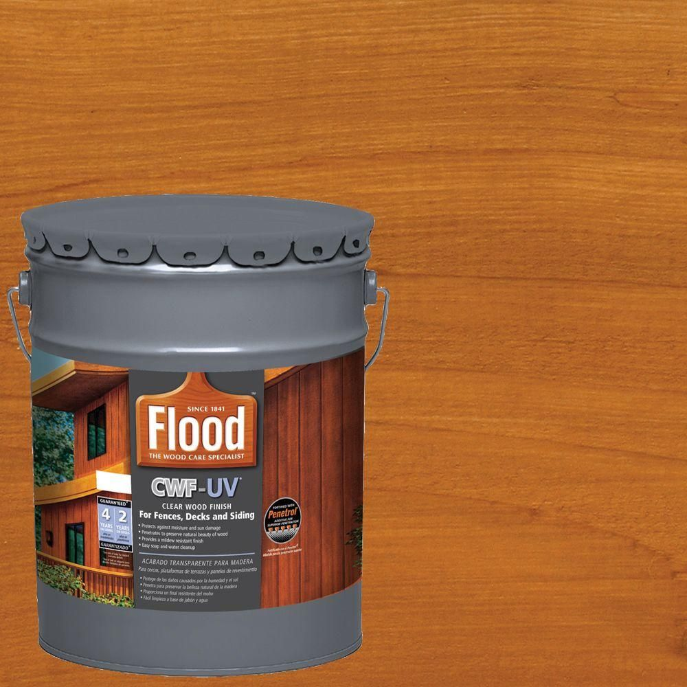 Flood 5 Gal Cedar Tone Cwf Uv Exterior Wood Finish Fld520 05 With Images Wood Deck Stain Staining Deck Exterior Wood Stain