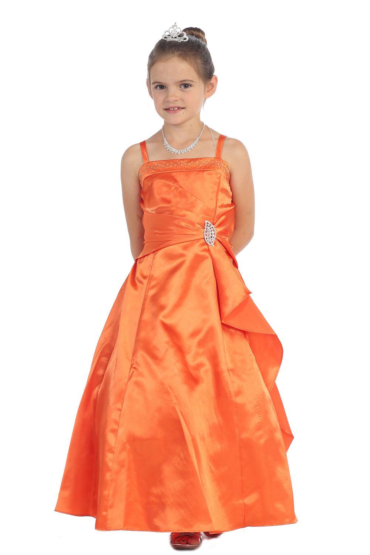 Оранжевый Блестящая атласная Rufflel Деталь-линии платье девушки цветка с блестками