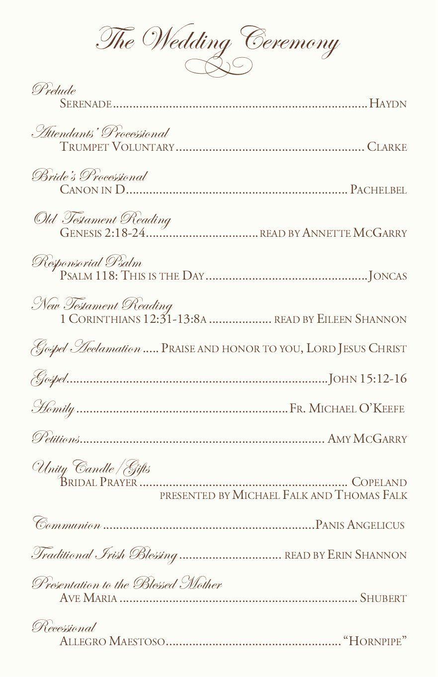 Catholic Wedding Program Templates Free Luxury Catholic