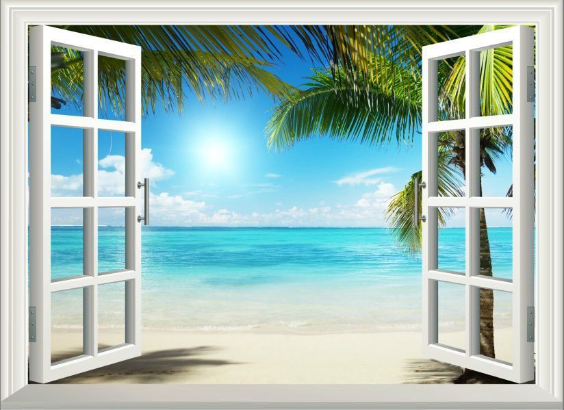 3d sunshine beach window view removable wall art stickers for Beach wall mural sticker