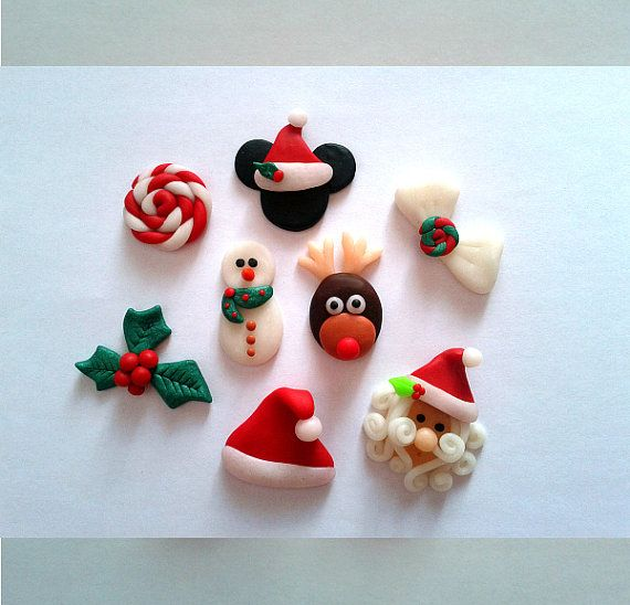 Polymer Clay Christmas Set Centers For Bows Polymer Clay Christmas Clay Christmas Decorations Christmas Clay