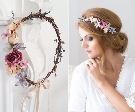 Hair Wreath Flower Crown, Wedding Tiara, Wedding accessories, Bridal flowers, Fairy Crown,Floral garland, Festival or Bridal Hair Flowers