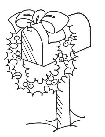 Mailbox With Wreath Cute Holiday Idea Coloring Pages Christmas