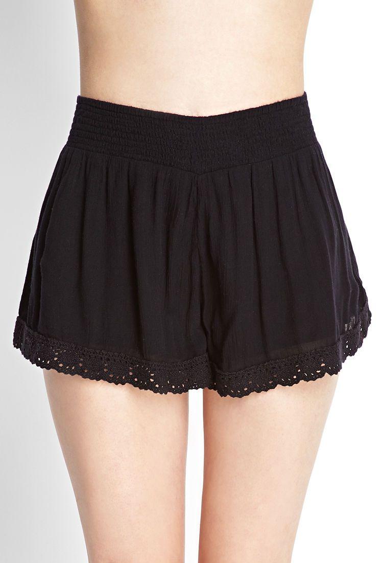 Gauzy Crochet-Trim Shorts | FOREVER21 - 2000123087. 17.80