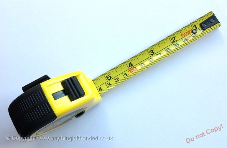 Left handed tape measure, retractable 5m / 16 ft