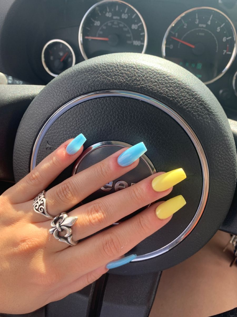 Blue And Yellow Nails In 2020 Summer Acrylic Nails Yellow Nails Long Acrylic Nails