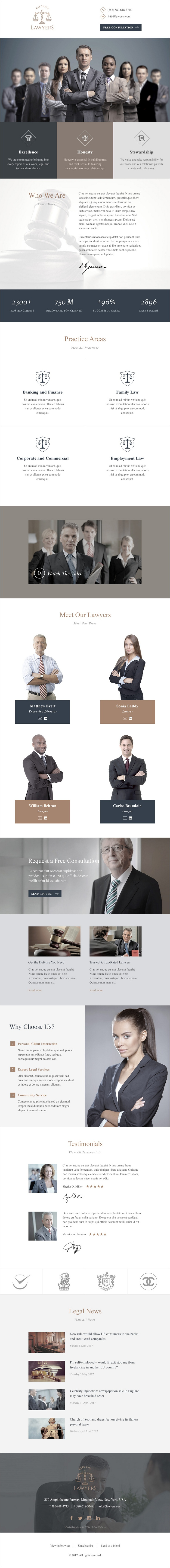 Lawyers Responsive Email Template Pinterest Responsive Email - Legal newsletter template
