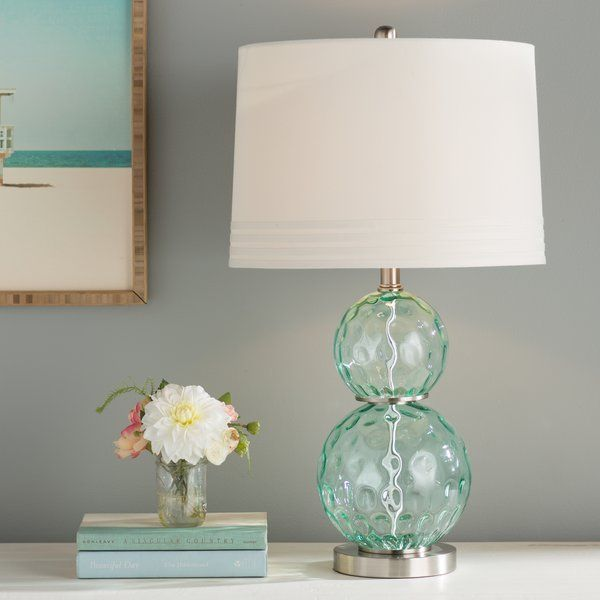Defined By A Stacked Glass Orb Design Dimpled Details Cool Turquoise Hue And An Understated Empire Shade This Eye C Table Lamps Living Room Lamp Table Lamp