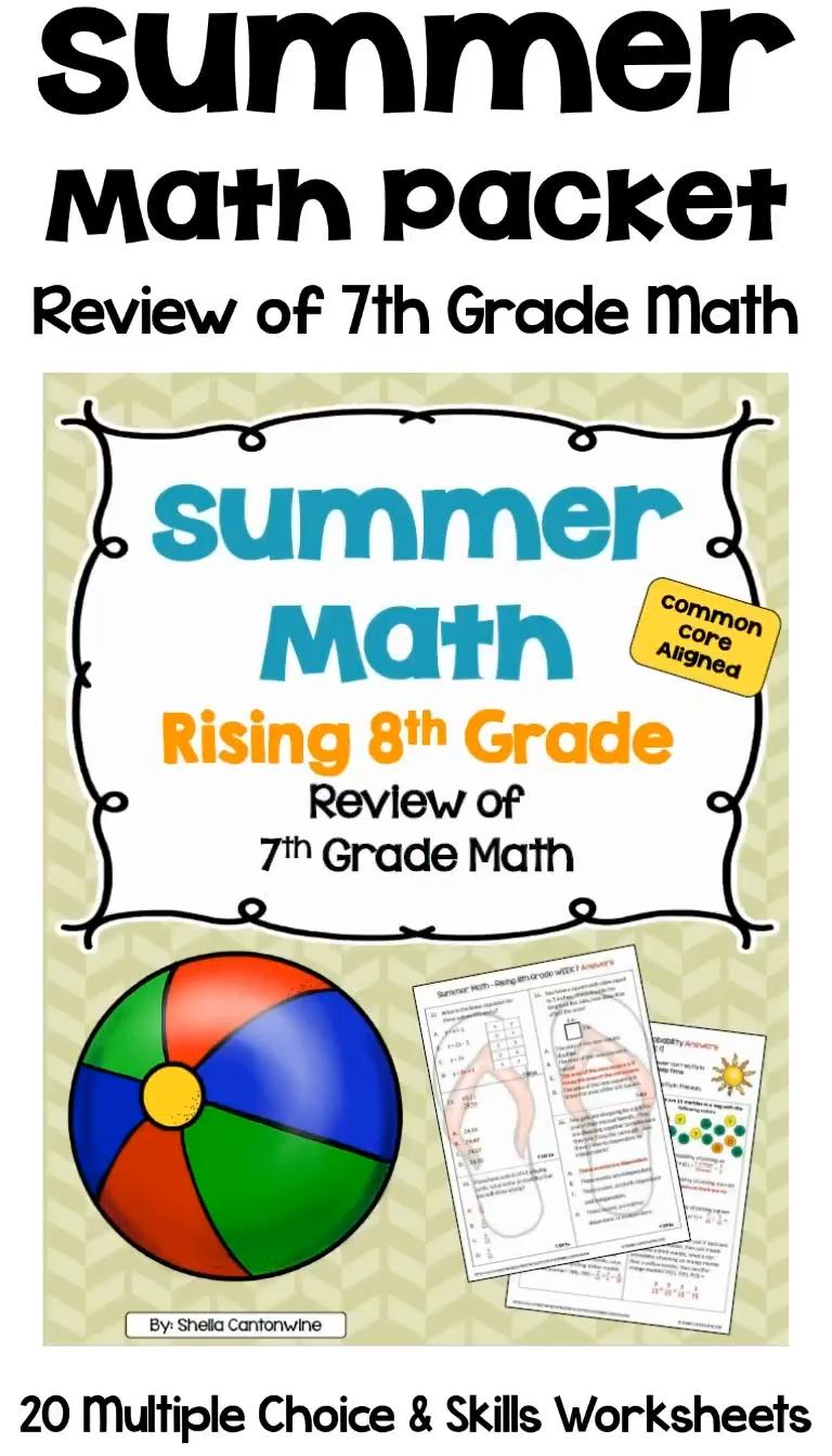 Summer Math Packet For Rising 8th Graders Review Of 7th Grade Math Video Math Packets Summer Math Summer Math Packet [ 1344 x 768 Pixel ]