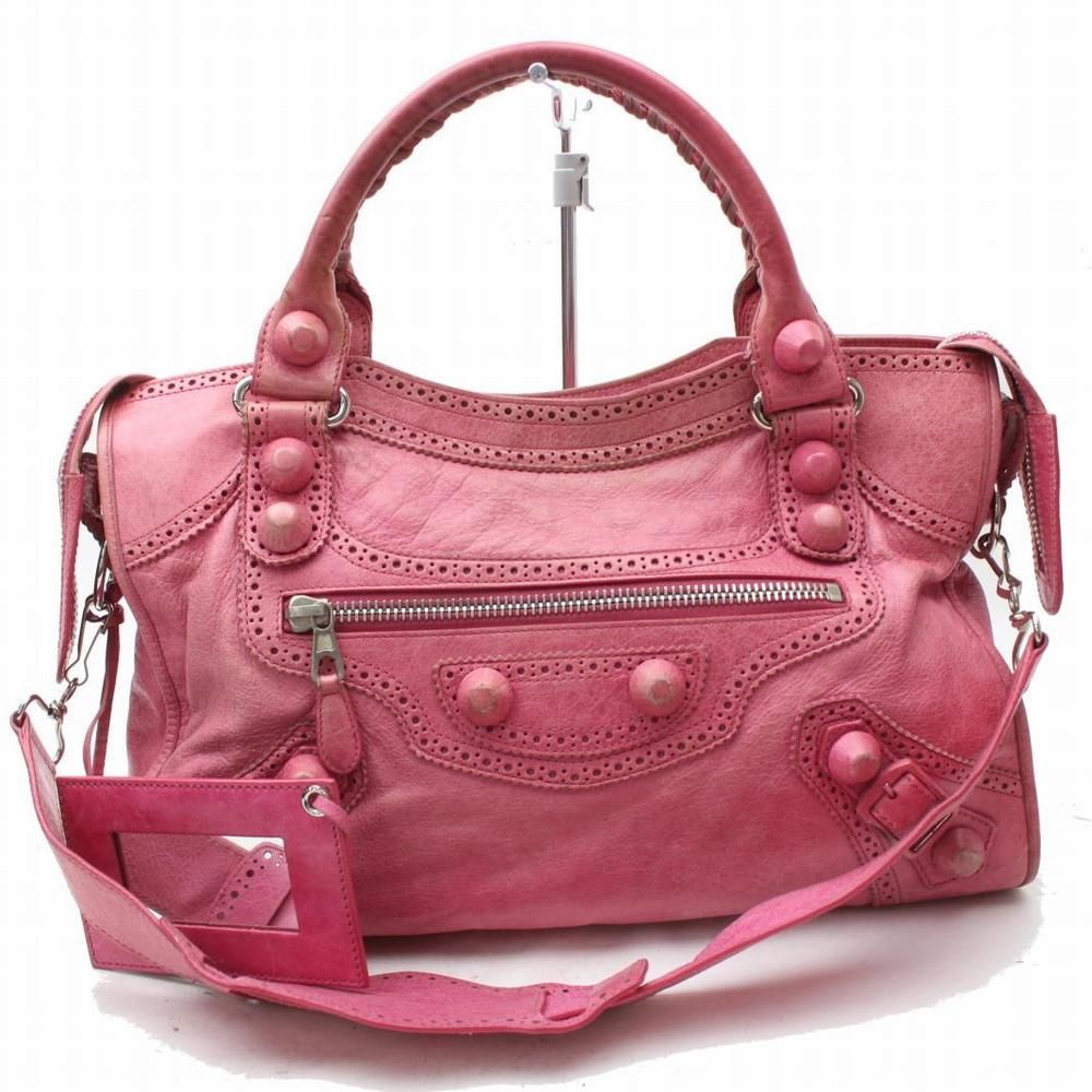 Authentic Balenciaga Hand Bag Pinks Leather 184208 Fashion Clothing Shoes Accessories Womens With Images Leather Handbags Leather Shoulder Bag Designer Shoulder Bags