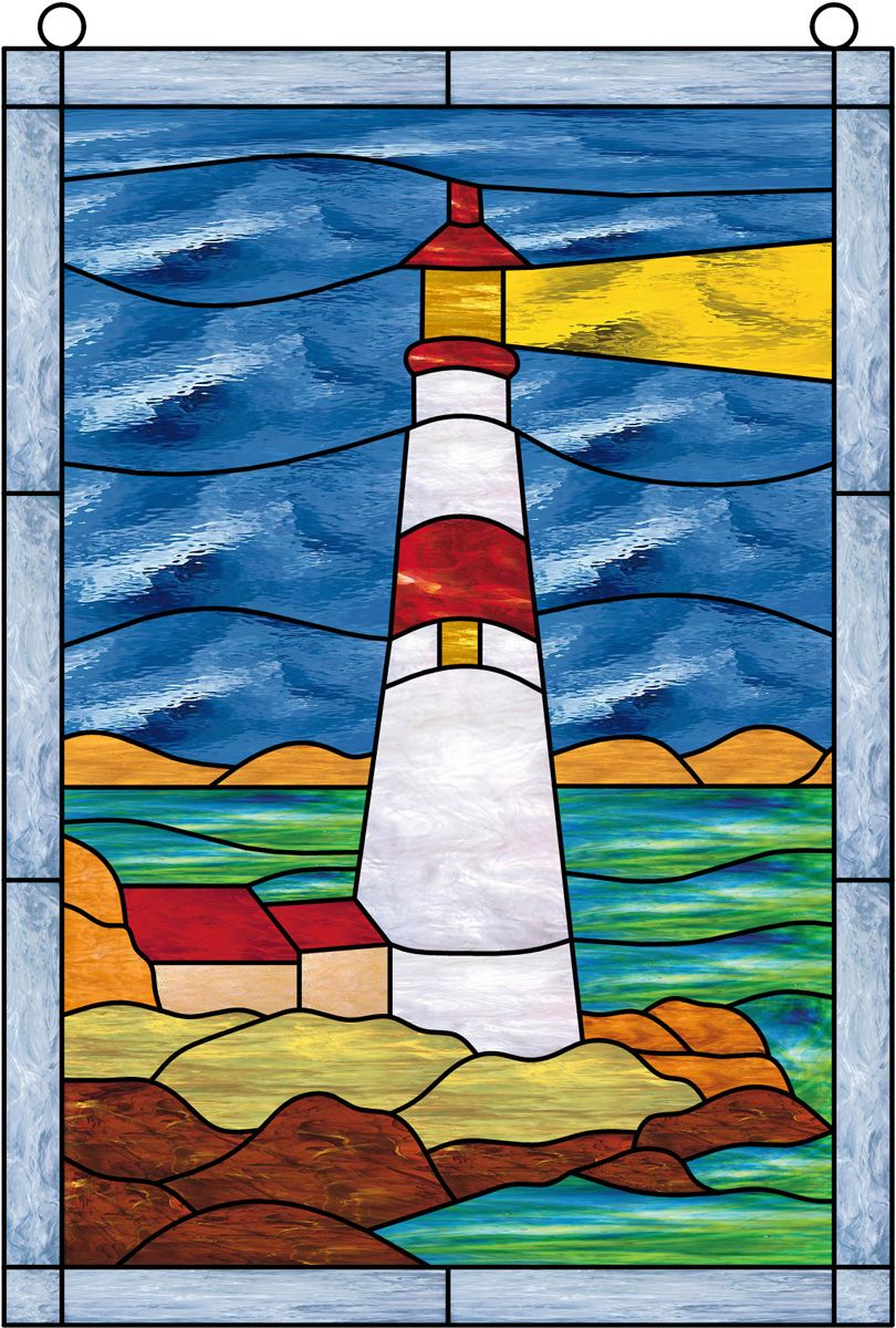 Window Film Stained Glass Lighthouse Sky Water Glas In Lood Quilten Glas In Lood Glas In Lood Kunst