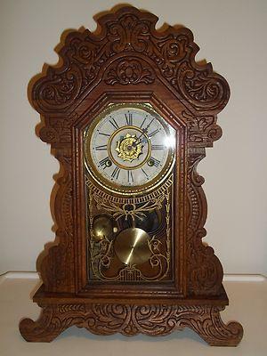 Antique Victorian Waterbury Carved Pressed Oak Mantel Shelf Parlor