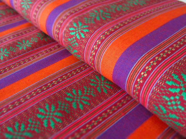 Stoff grafische Muster - Mexikanischer Ethno Stoff - orange { Ikat ...