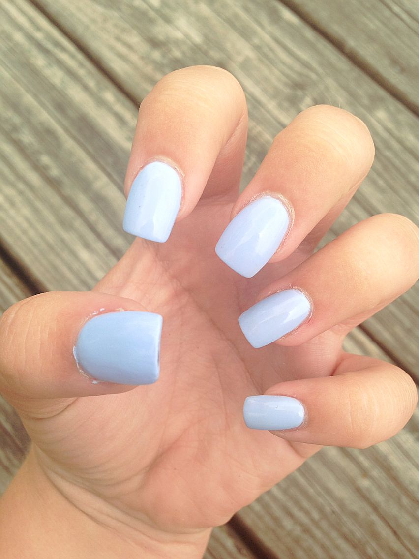 Blue Nails Acrylics Baby Fake Square