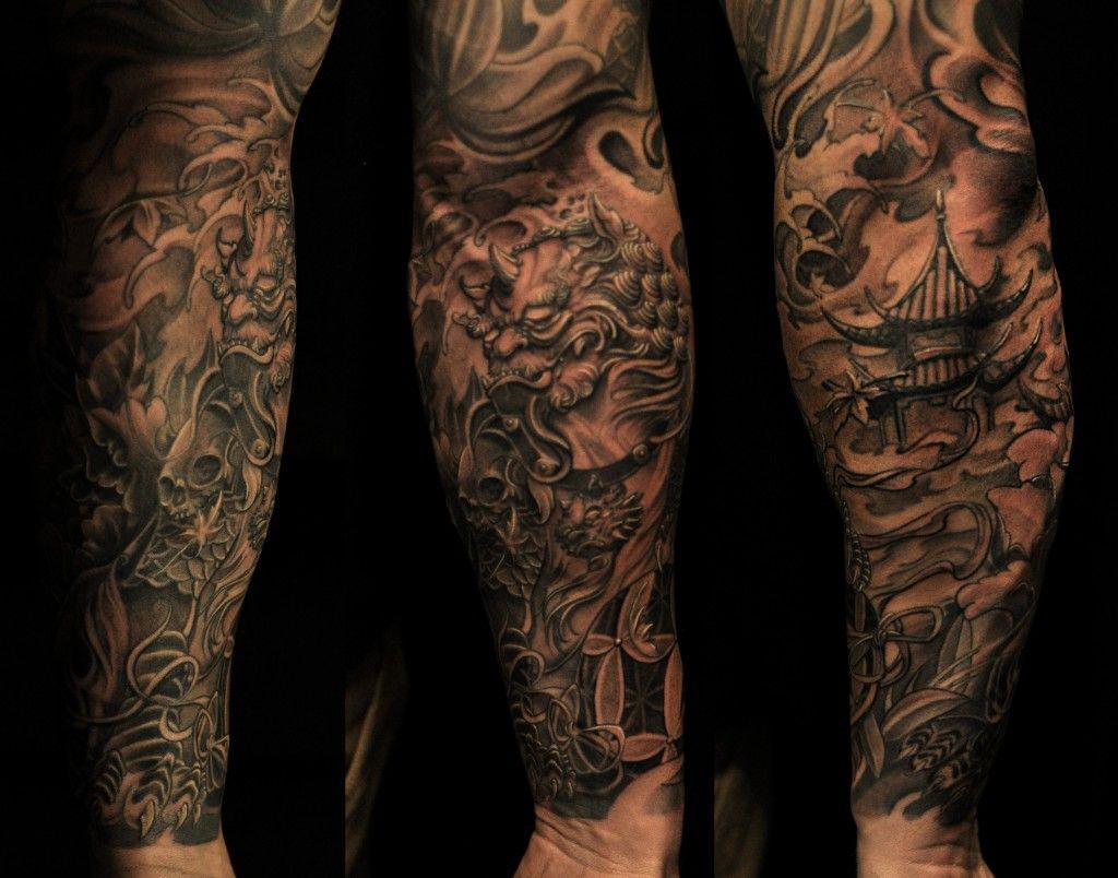 Aztec Temple Tattoo foo dog/temple tattoo sleeve   half sleeve foo dog and