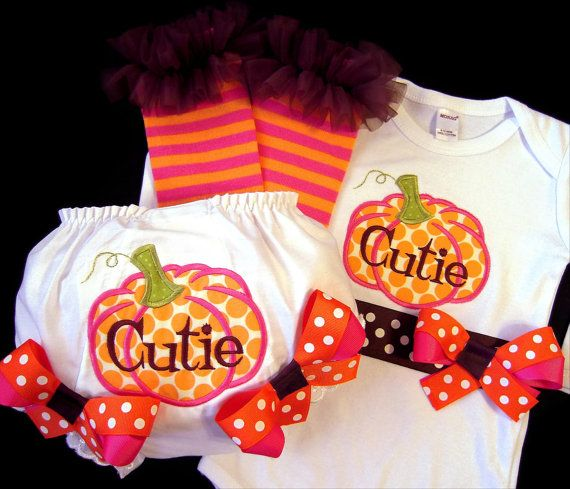 Pumpkin Cutie Outfit Thanksgiving Fall Bodysuit by whimsytots, $69.50