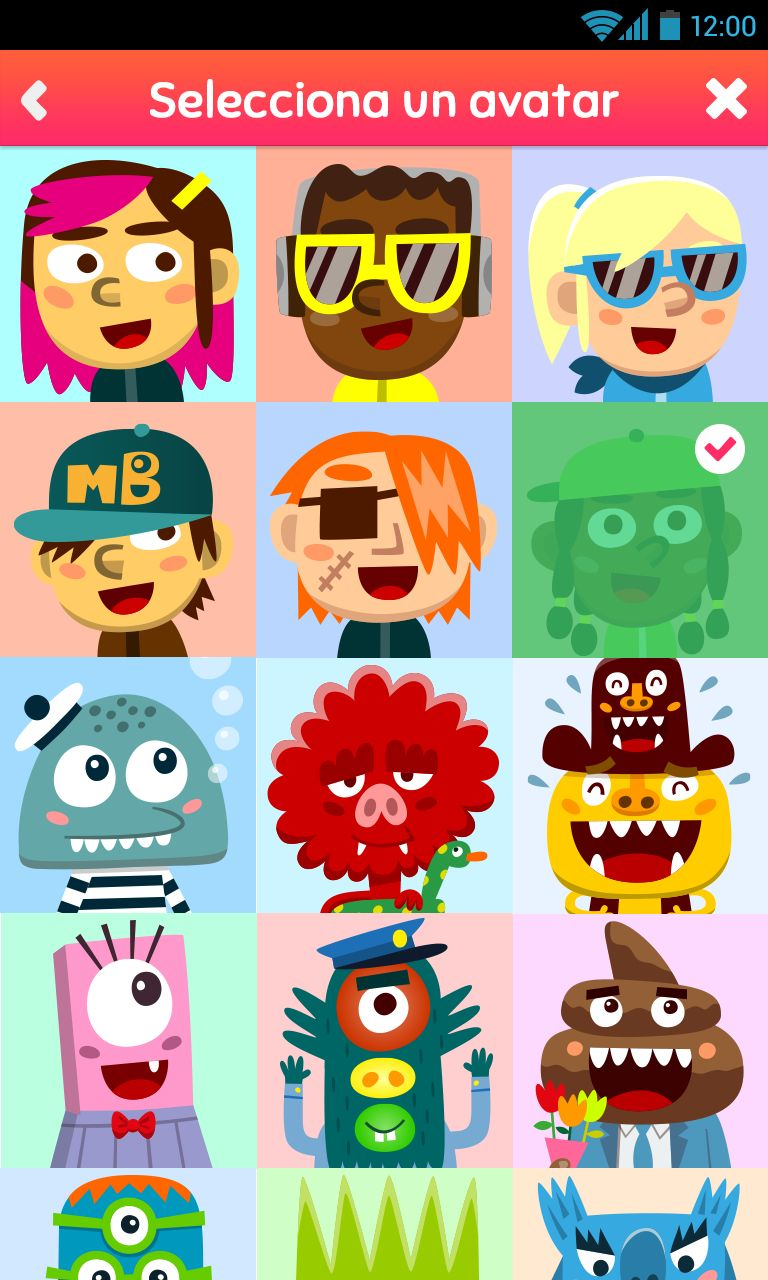 Select avatar in a coming soon app of the Monsters Band