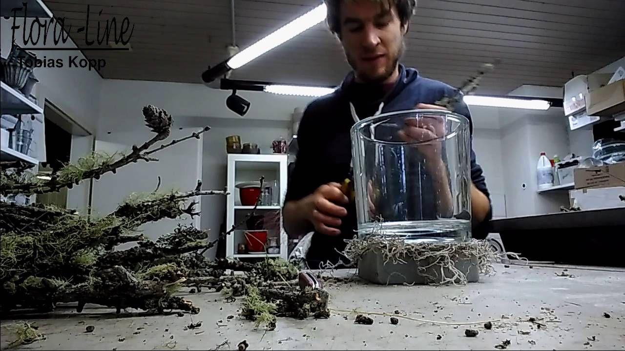 Windlicht glas mit naturmaterialien ausschm cken for Herbst dekoration im glas
