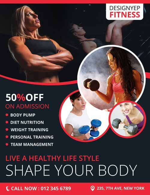 Fitness Club Gym Free Flyer Psd Template