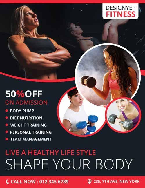 Fitness Club Gym Free Flyer PSD Templateu2026