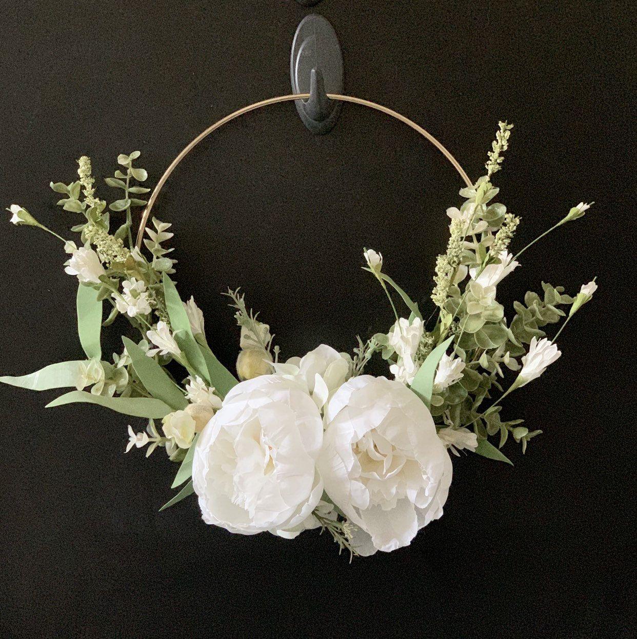 Photo of 10″ Hoop Wreath / Gold Hoop Wreath/ Farmhouse Decor/ Summer Wreath/Wedding Wreath Baby Nursery Decor