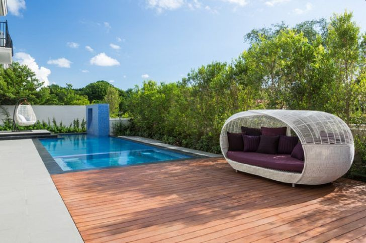curved cover outdoor poolside bed & curved cover outdoor poolside bed | Outdoor Furniture Garden ...