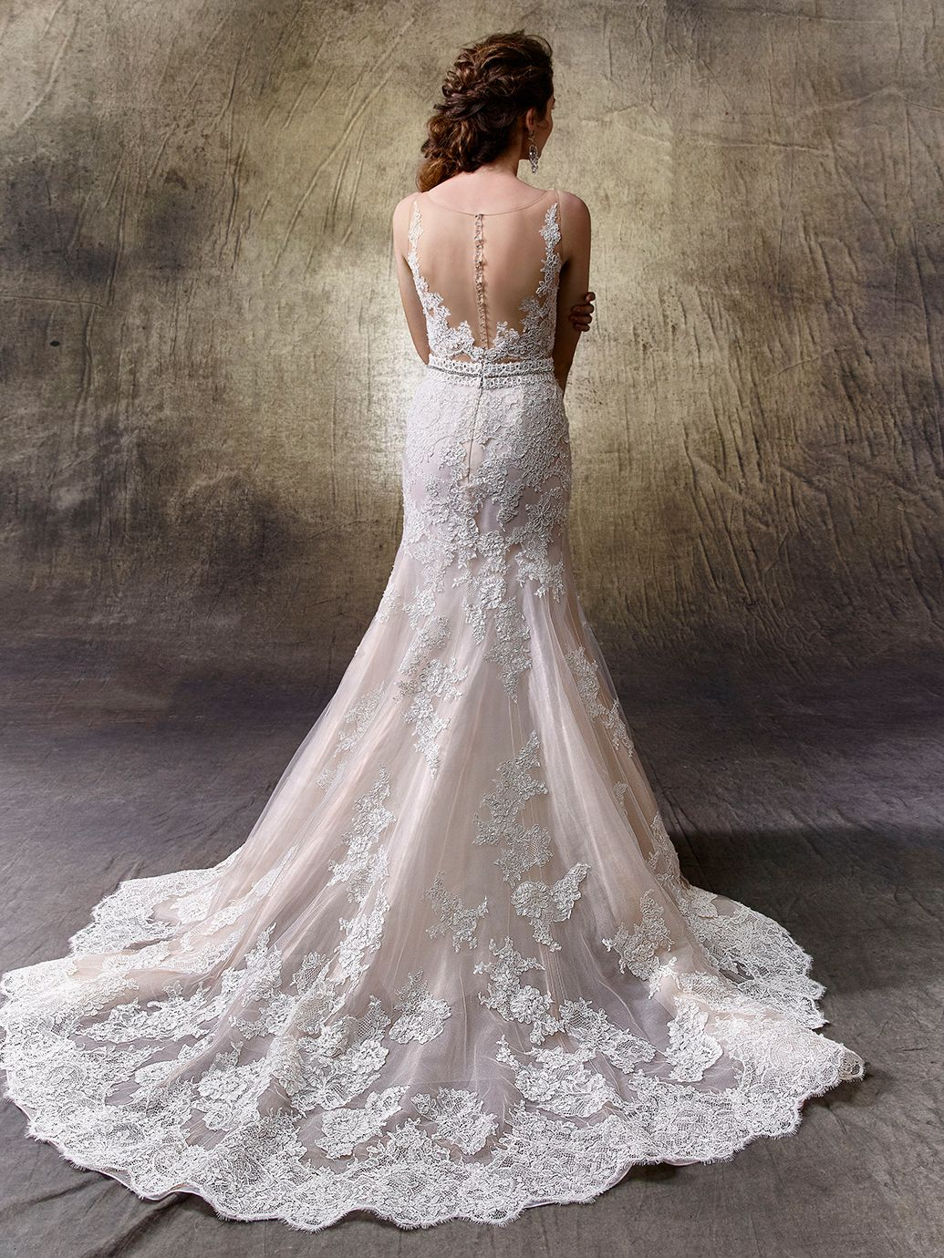 2017 Enzoani, Lotus, Available at Uptown Bridal- www.uptownbrides ...