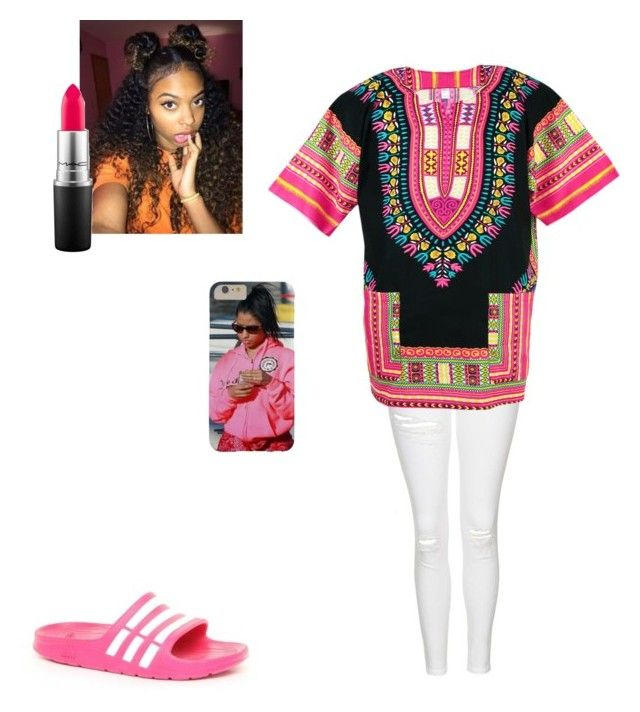 """""""Pink Dashiki"""" by kaithlynlmds ❤ liked on Polyvore featuring Topshop, adidas and MAC Cosmetics"""
