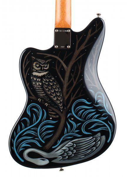 "CRESTON ELECTRIC INSTRUMENTS - BRIAN SAUNDERS' SARAH RYAN GOLD FOIL Brian Saunders' final blue guitar: 1-pc mahogany body, 24-3/4"" scale mahogany / rosewood neck, Mastery bridge, Lollar Gold Foil pickups, custom horseshoe vibrato tailpiece, Sarah Ryan paint."