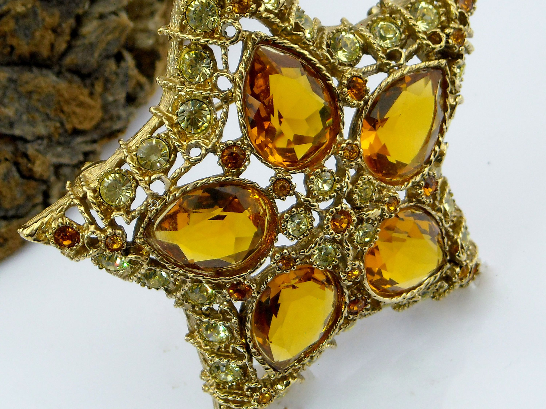 Kenneth Jay Lane Topaz And Crystal Cross Pin Gold/topaz j8i4bQ