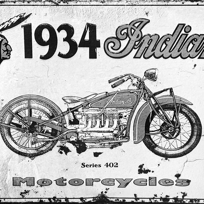 Tin Sign Vintage Indian Motorcycle Black