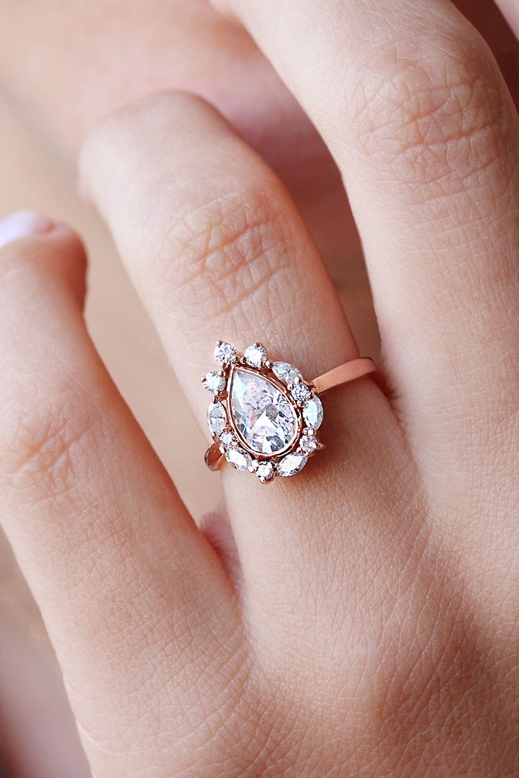 Unique pear shaped moissanite diamond halo engagement ring rose gold ...