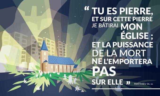Tu es Pierre, et sur cette pierre je bâtirai mon Église ; et la ...