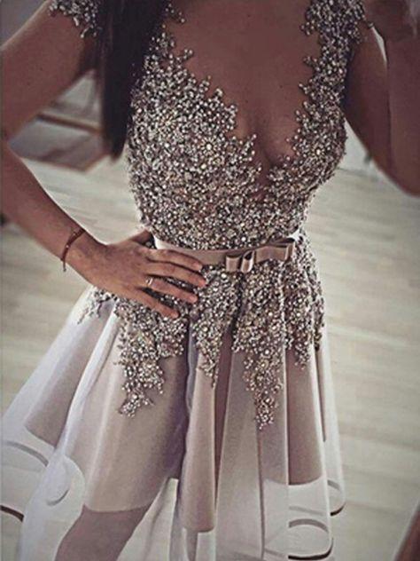 f665ae8cb33 A-Line Princess Sleeveless V-neck Sequin Organza Short Mini Dresses